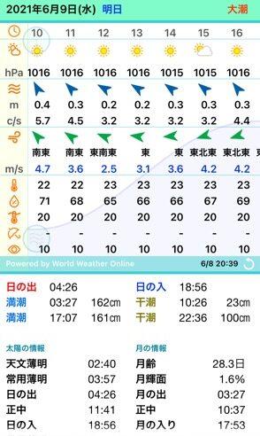 6月9日タイドグラフ、風、午後